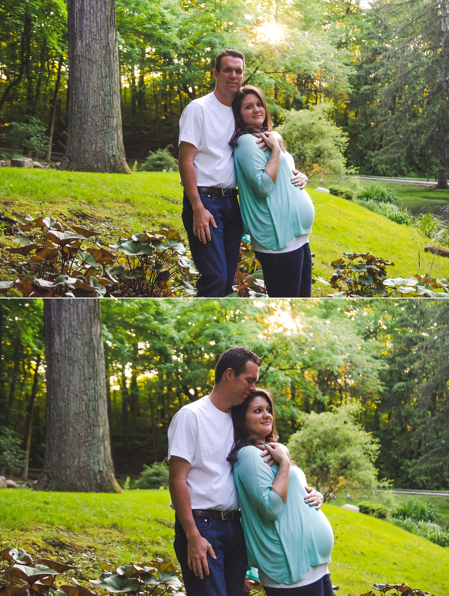 A couple embraces during their maternity session.