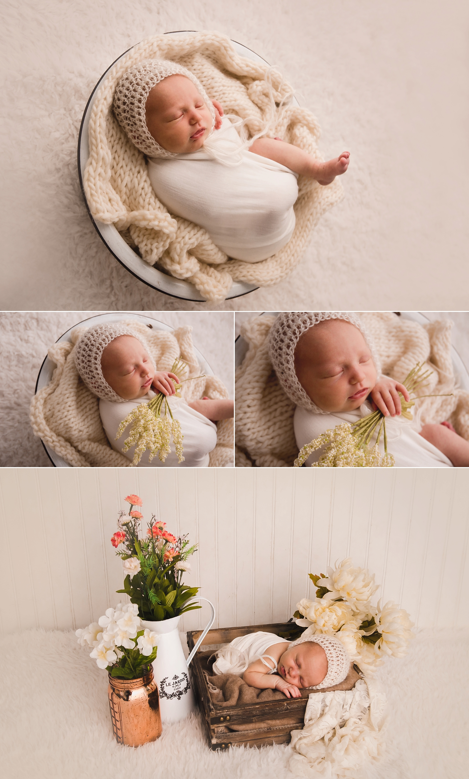 Newborn girl is posed in a bucket, and with flowers for prop shots