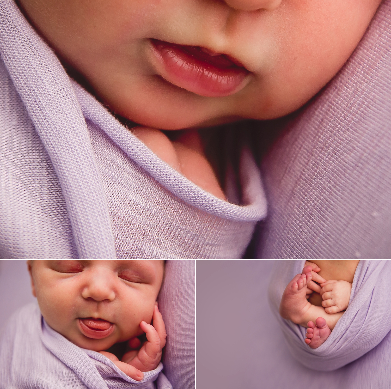 Newborn lips and toes