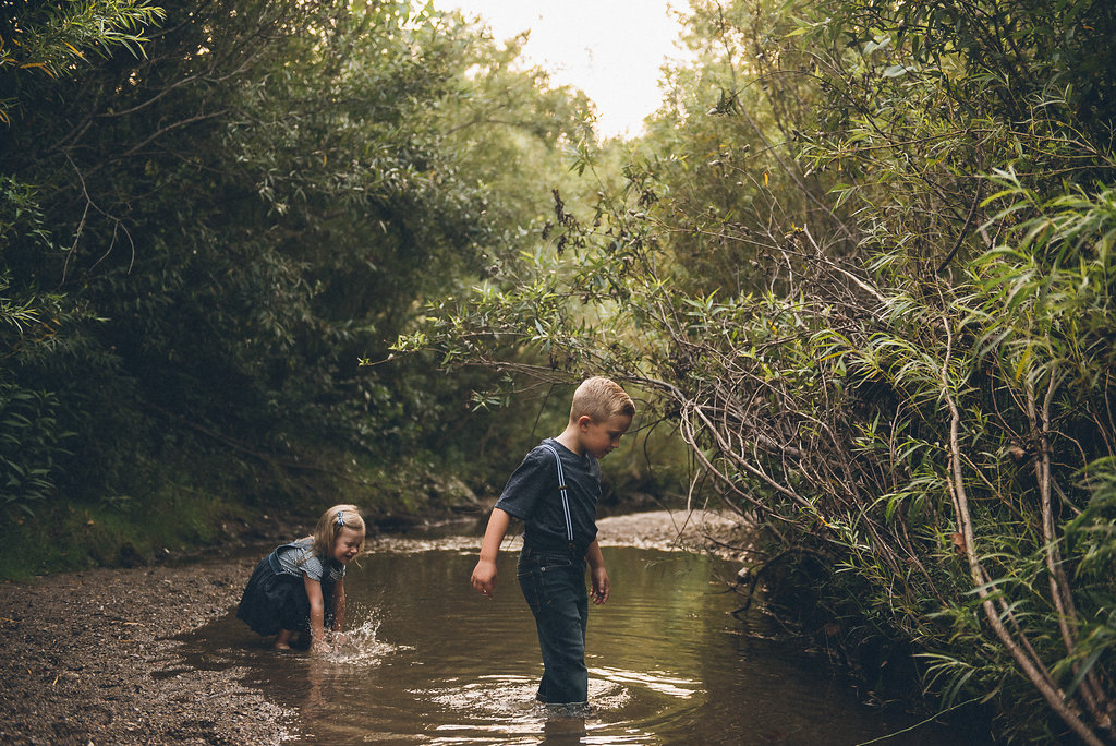 creek stomping at Fort Harrison State Park