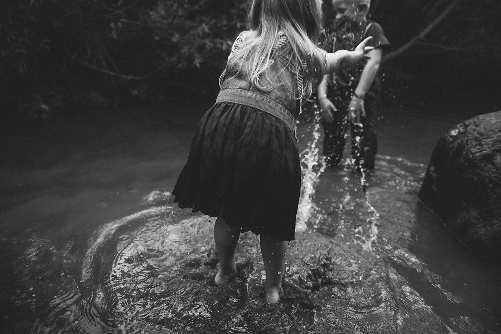 kids splashing in an Indiana creek