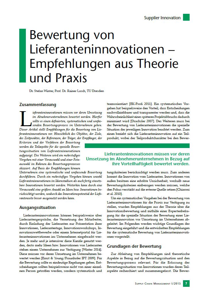 Bewertung von Lieferanteninnovationen - Empfehlungen aus Theorie und Praxis.png