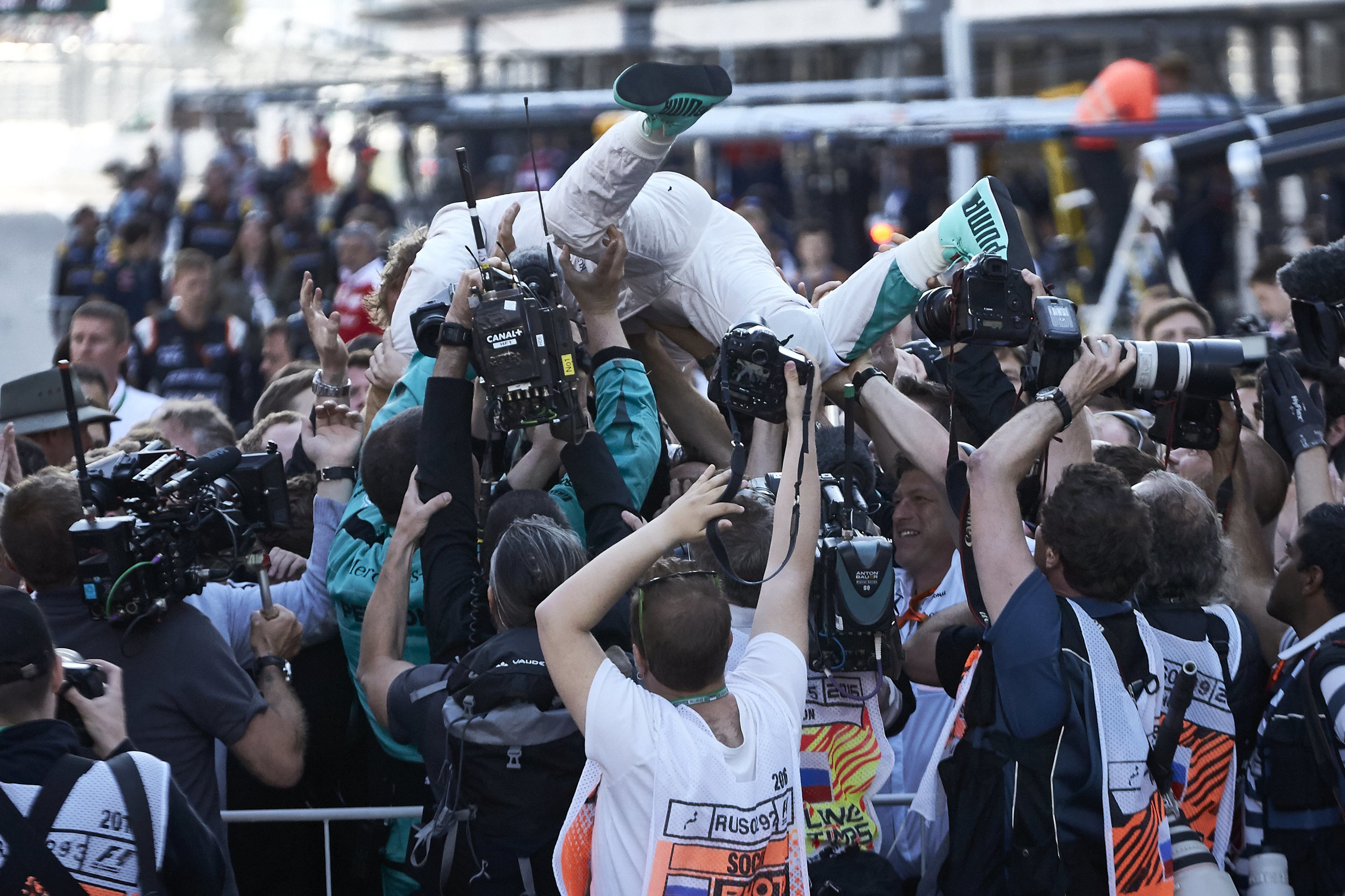 Rosberg celebrates another win in Russia by going mechanic surfing. (Pic: Mercedes)