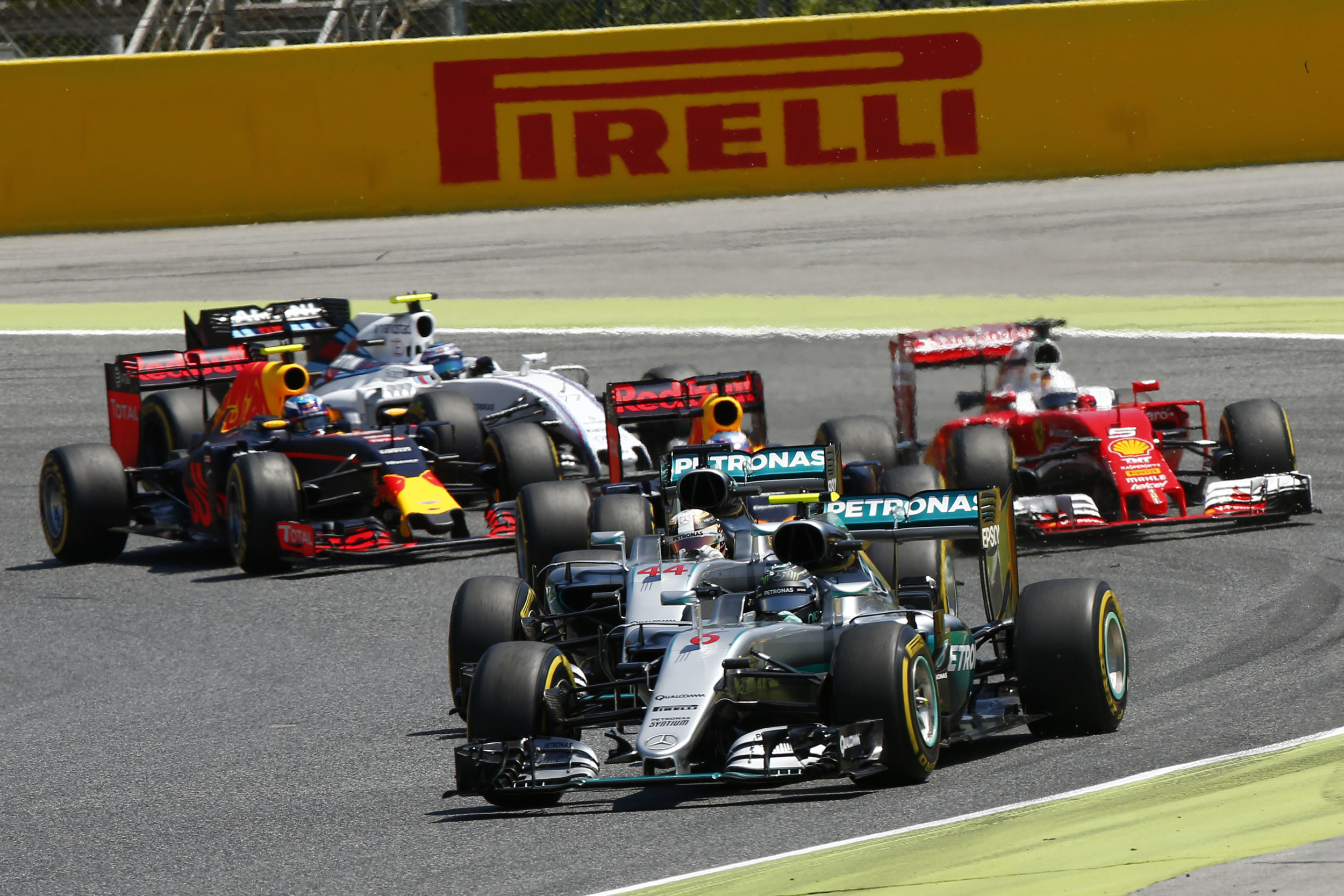 Shortly before the crash. (Pic: Mercedes)