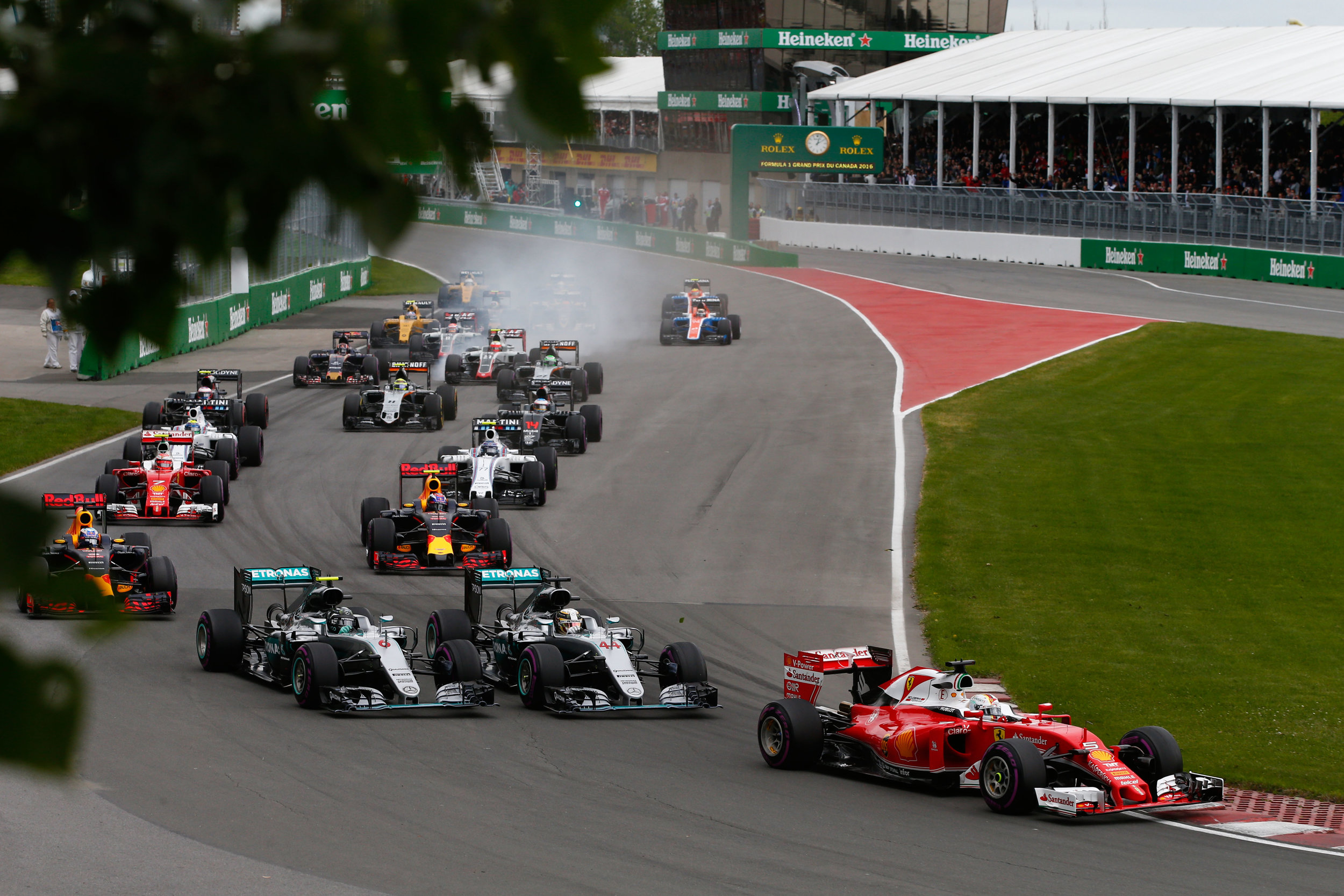 Seconds before Rosberg was squeezed off and wrecked his race. (Pic: Mercedes)