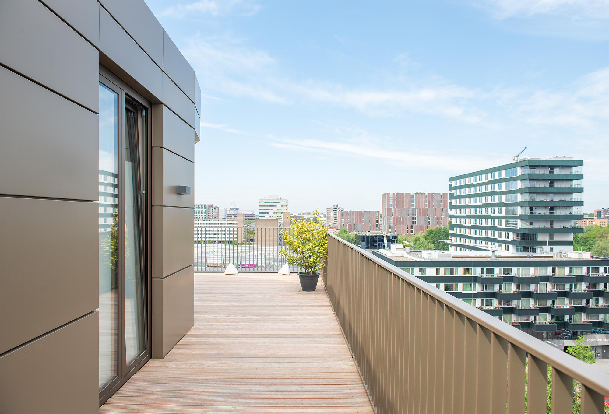 Balcony and view from the penthouse