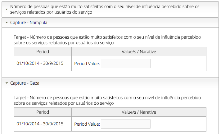 Screenshot - Configure indicators to track data each month from source data in the data collection forms