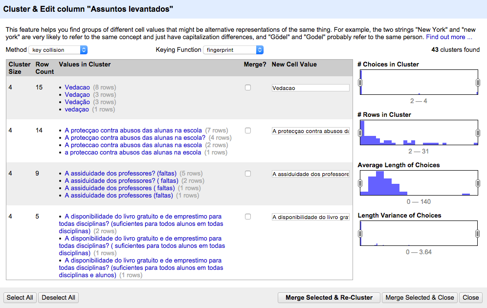 Screenshot showing panel with options to include or exclude duplicate data