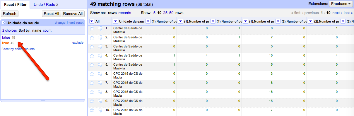 Screenshot of clustering tool