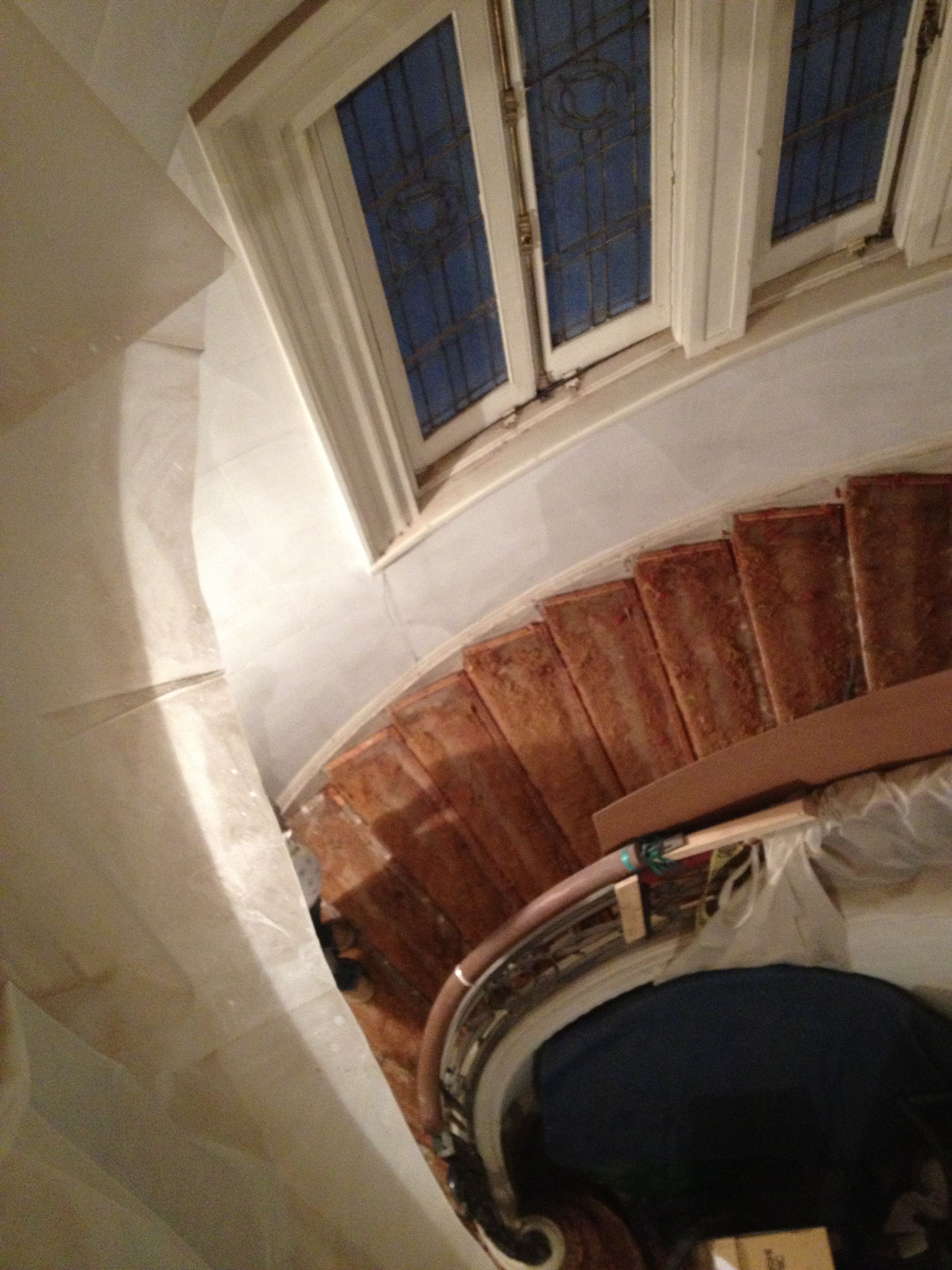 OVAL STAIR - Full oval stair renovation and railing addition.