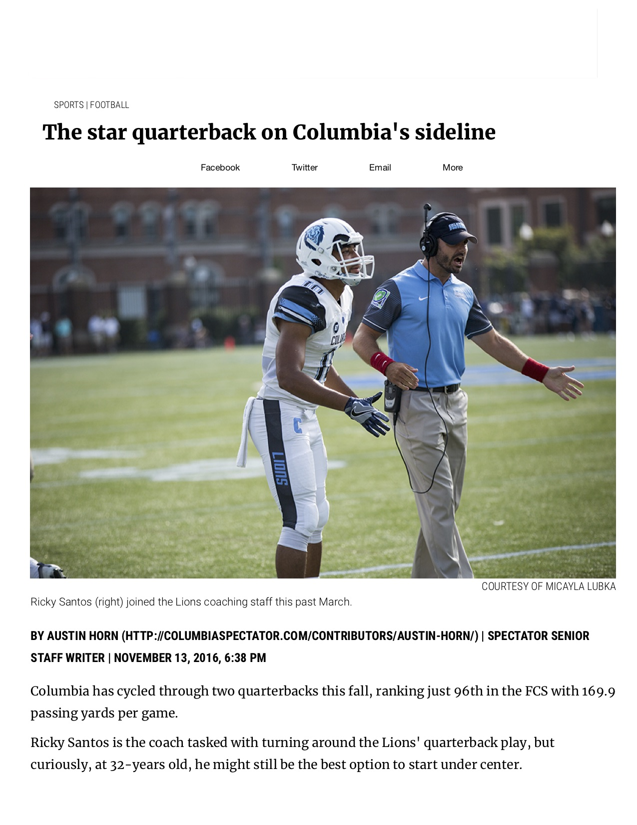 The star quarterback on Columbia's sideline - Columbia Daily Spectator.jpg