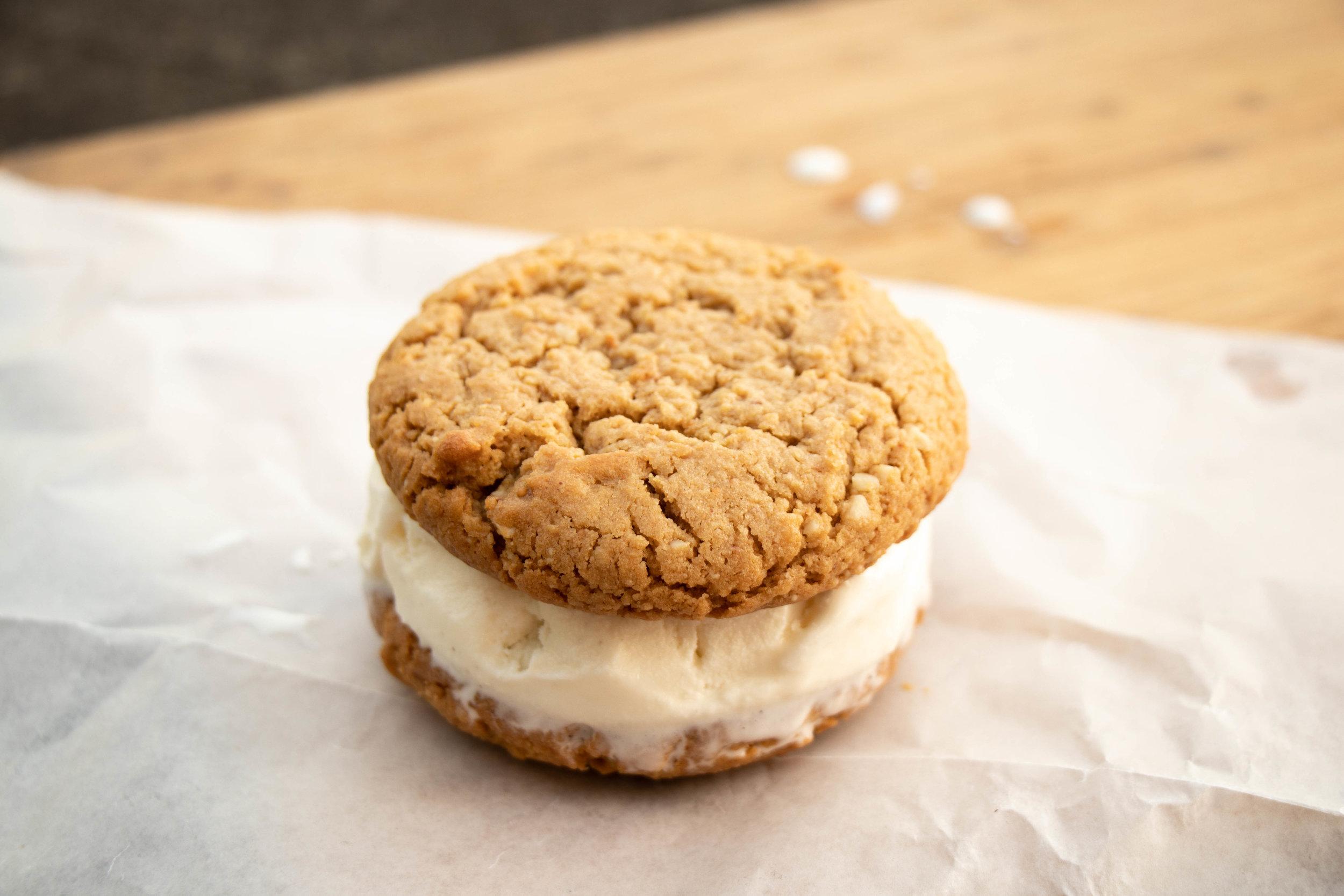 Peanut Butter Cookie Ice Cream Sandwich