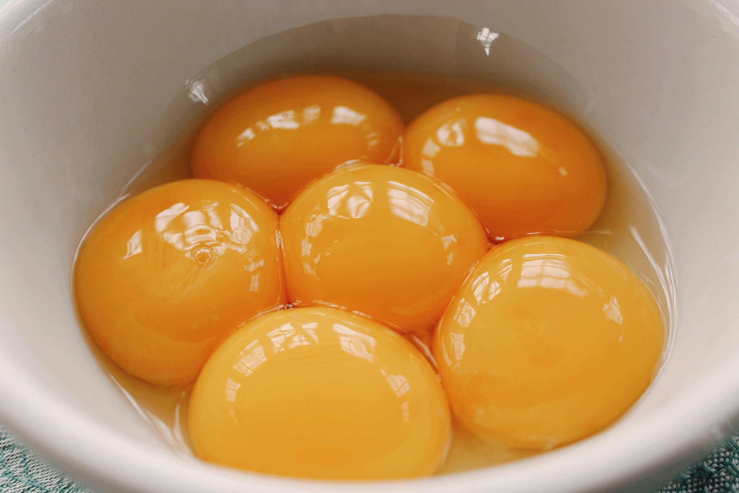 Separate 6 eggs, putting the yolks into the bowl of your stand mixer and saving the whites in another large mixing bowl.