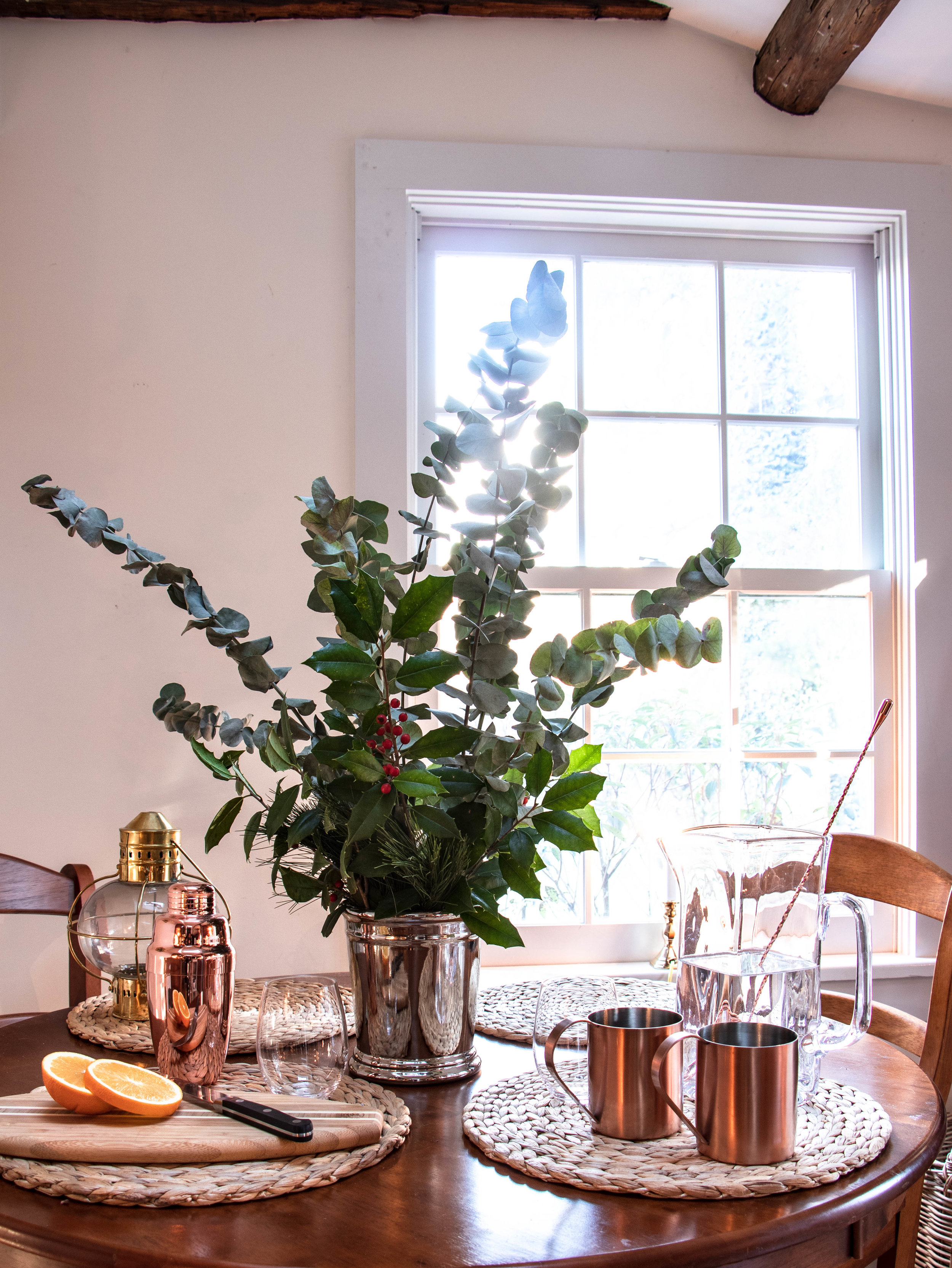 Eucalyptus-Pine-Holly Christmas-Holiday Centerpiece-Arrangement