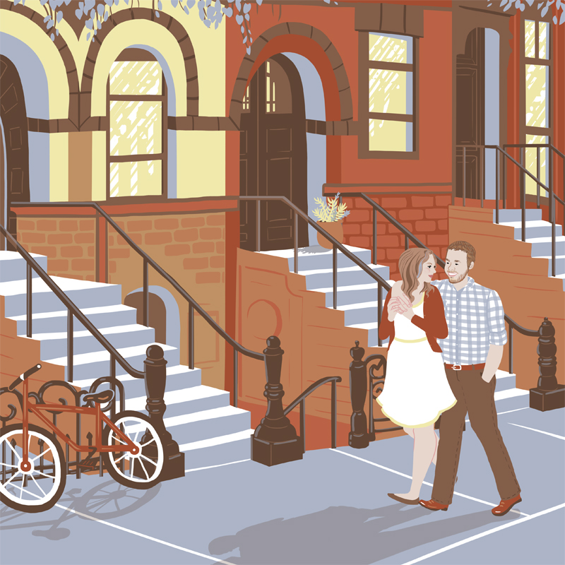 Kate + Josh   | Commissioned as a wedding gift, this portrait features Kate and Josh walking down the street where Josh proposed in Park Slope, Brooklyn. Photos of the actual cross streets were used as references for the setting, which was fun and made me and the gift-giver feel sneaky. |   Digital drawing, 10x10