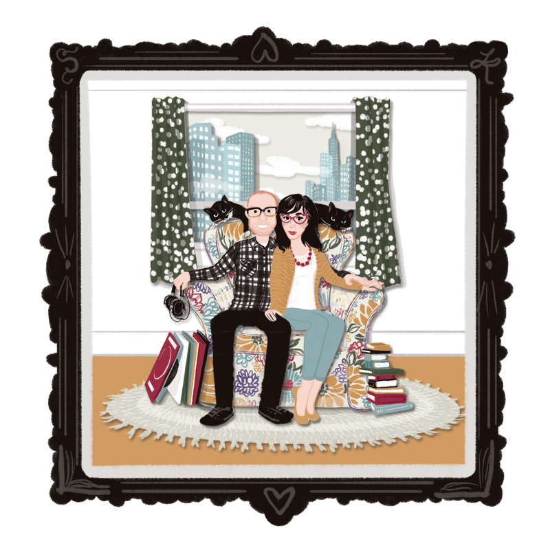 Kathryn + Stephen   | Commissioned as a wedding gift, this portrait features Kathryn, Stephen, and their cats Avon and Stringer in their Jersey City, NJ apartment. |   Digital drawing, 10x10
