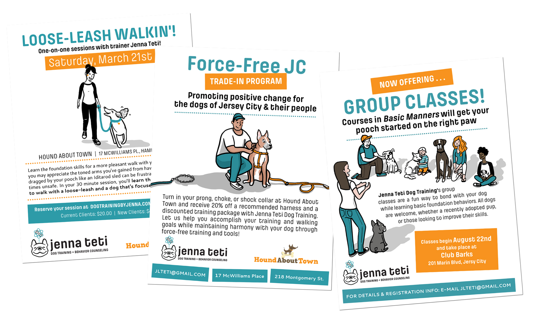 A selection of flyers I illustrated and designed for a variety of programs offered by Jenna. Two color schemes have been used to slightly differentiate the work she does in partnership with another local business, and events she offers privately.