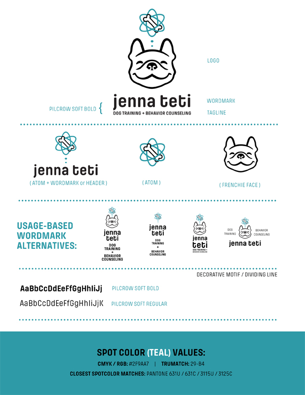 A basic branding board highlighting Jenna Teti Dog Training's fonts, colors, and various logo/wordmark formats