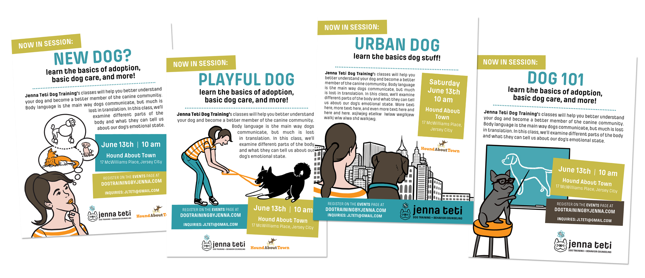 This series of flyers consists of Photoshop templates that can be easily updated to include new course descriptions of varying lengths (the text you see here is just temporary filler text), updated when/where info, and includes various options for including additional event sponsors. The nice thing about templates is that they can be easily updated by the client themselves while maintaining their original format and style.