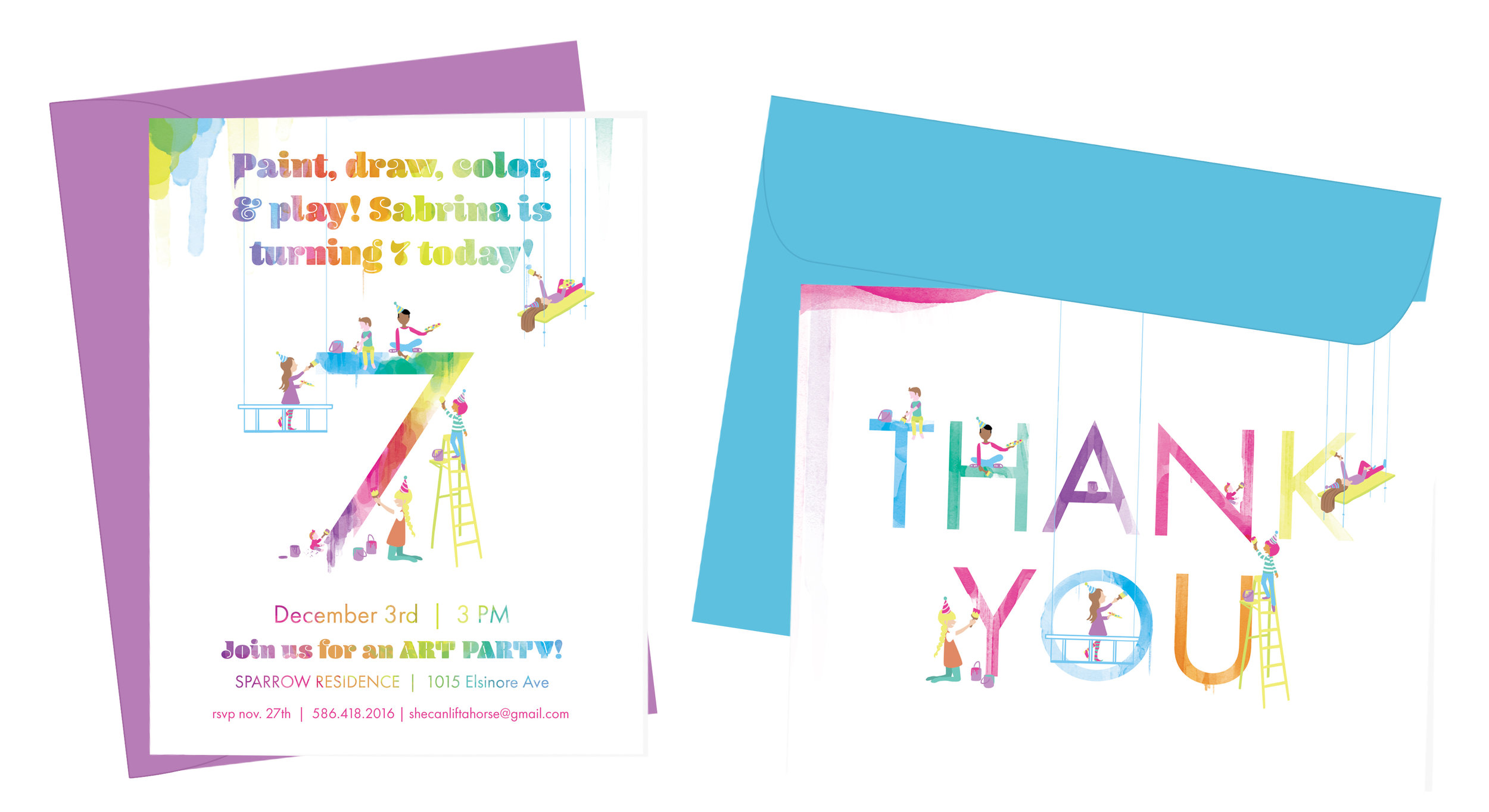 Art Party  | birthday invitations and thank you cards   A colorful invitation to an art-themed painting party. Some of the actual party goers (including the birthday girl and her little brother) were drawn. |  professionally offset printed