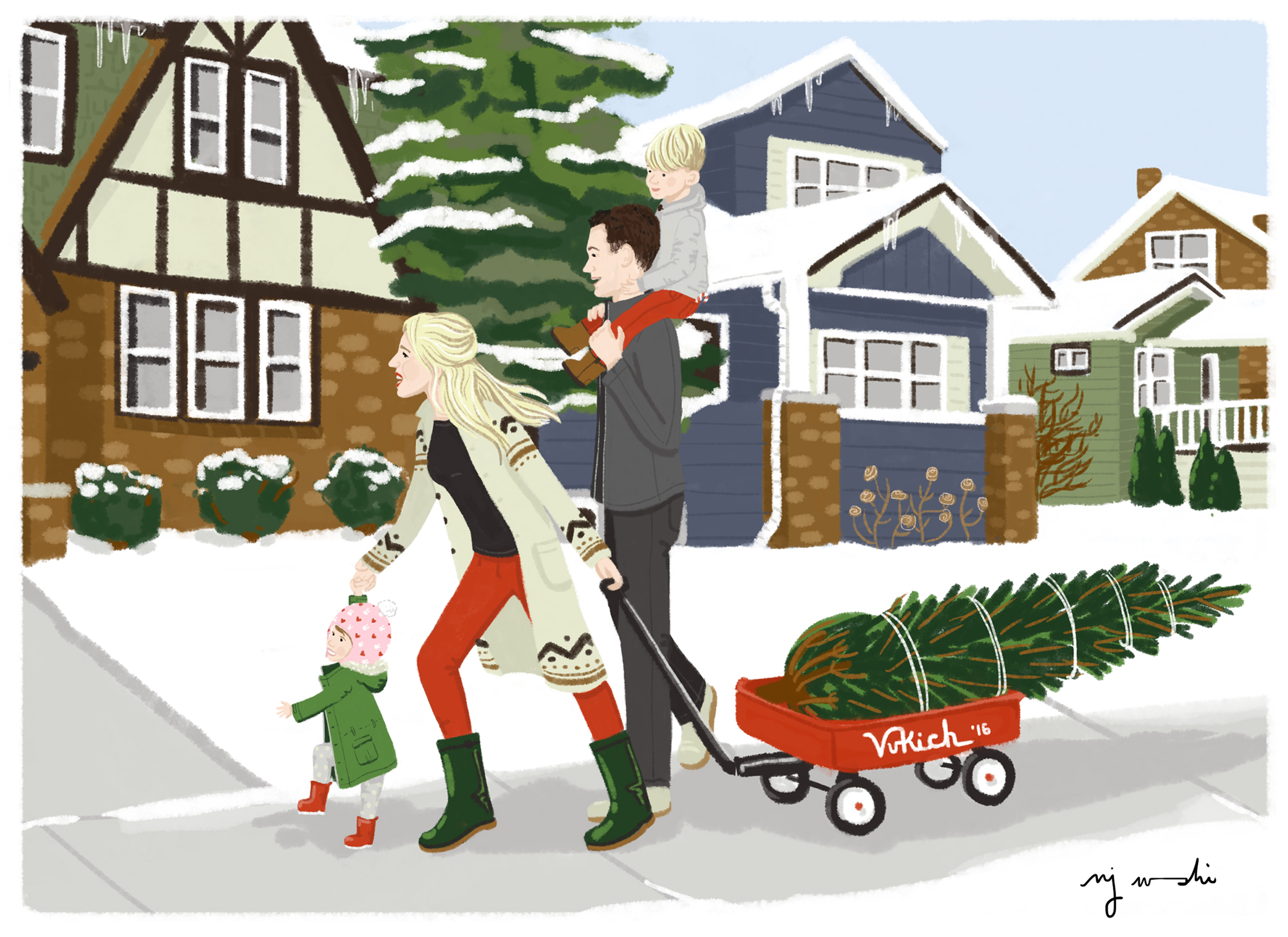 Vukich Christmas   | Ashley described bringing home the family's Christmas tree from the lot at the end of their street as one of those truly idyllic moments, wishing she could have captured the moment on film. Since she couldn't, I drew it! Here the family is seen pulling their Christmas tree home in their little red wagon, with drawings of homes from their actual street|   Digital drawing, 5x7
