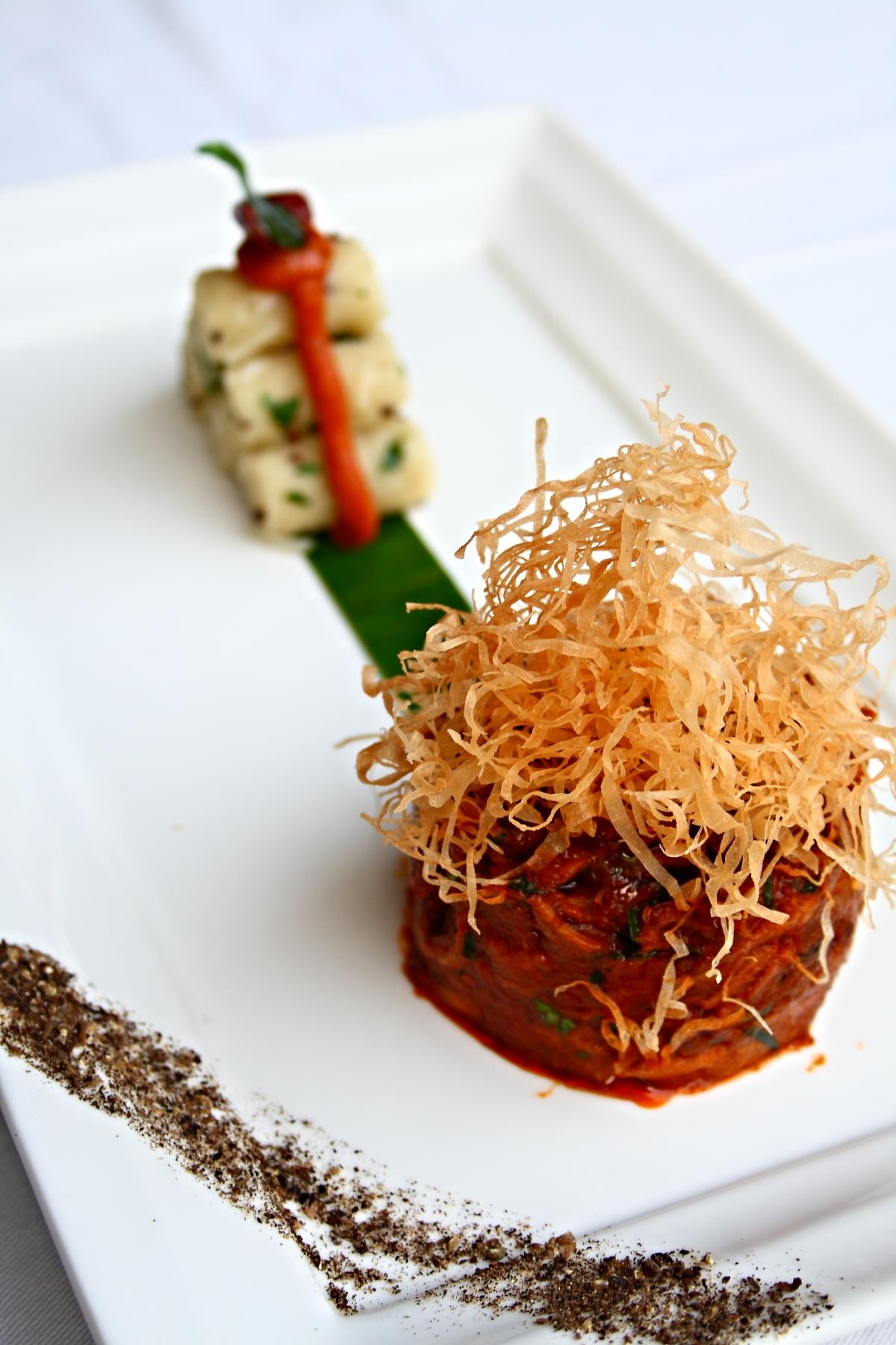 Duck Chettinad, Upma Barrels, Tomato Onion Chutney