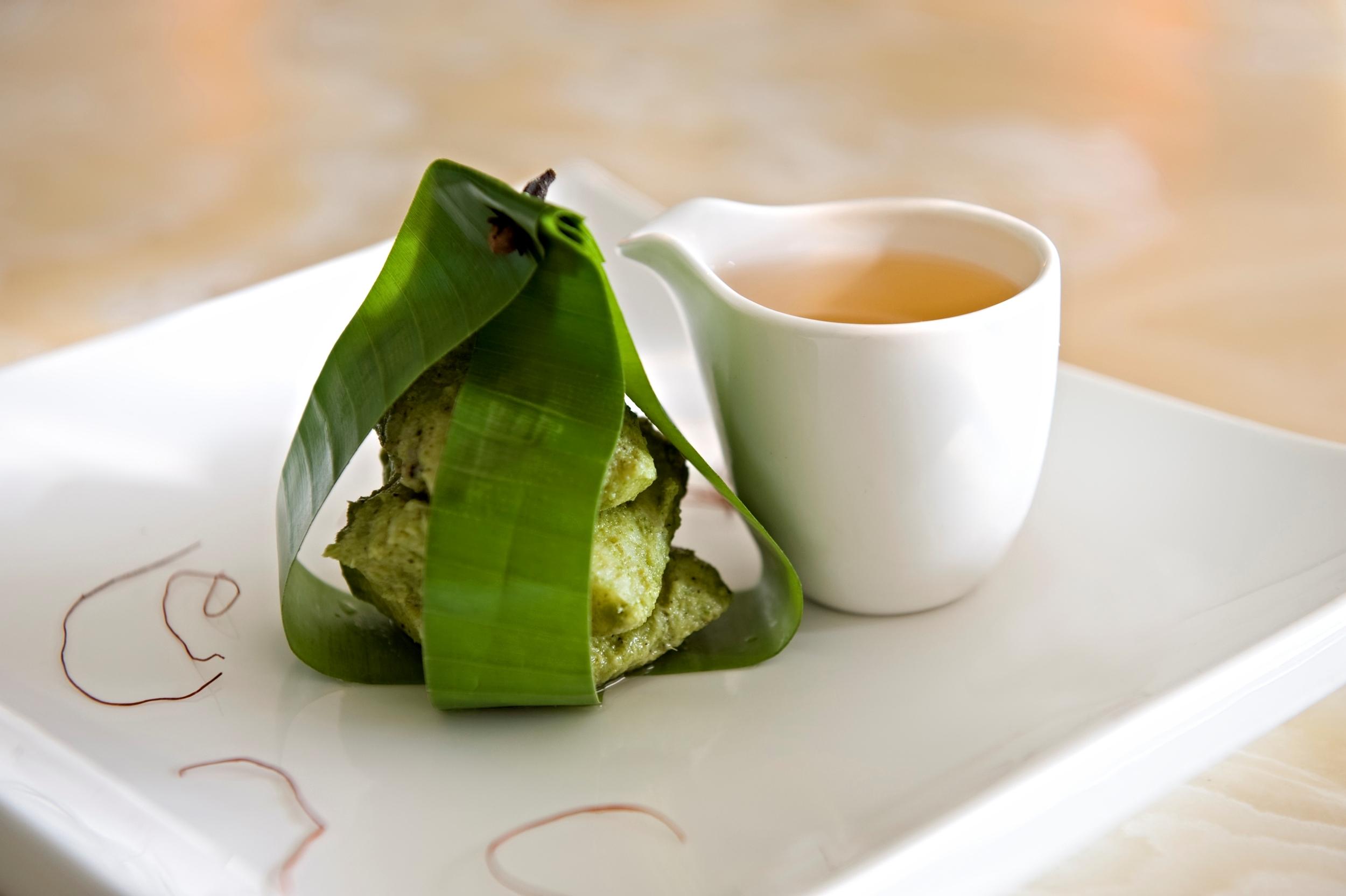 Galangal Infused Patrani Mekong Basa, Tomato Shorba Essence