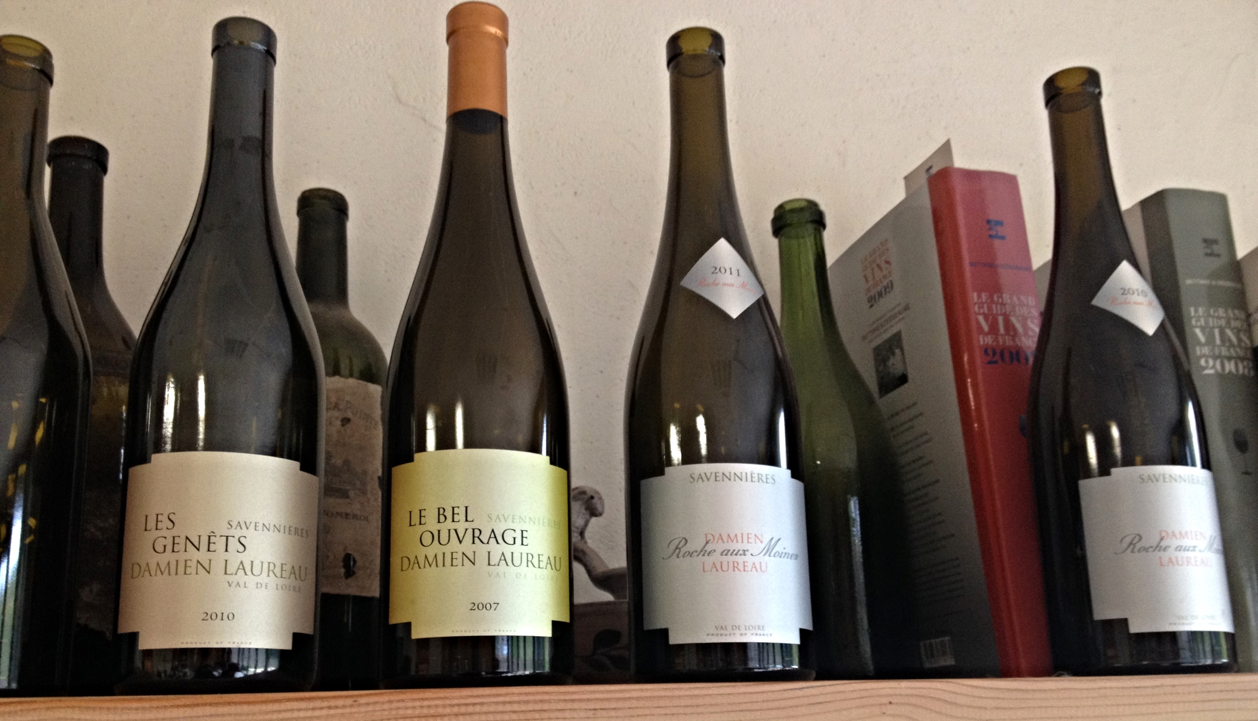 Some of Damien's wines: Les Genets, Le Bel Ouvrage, and the Roche aux Moines