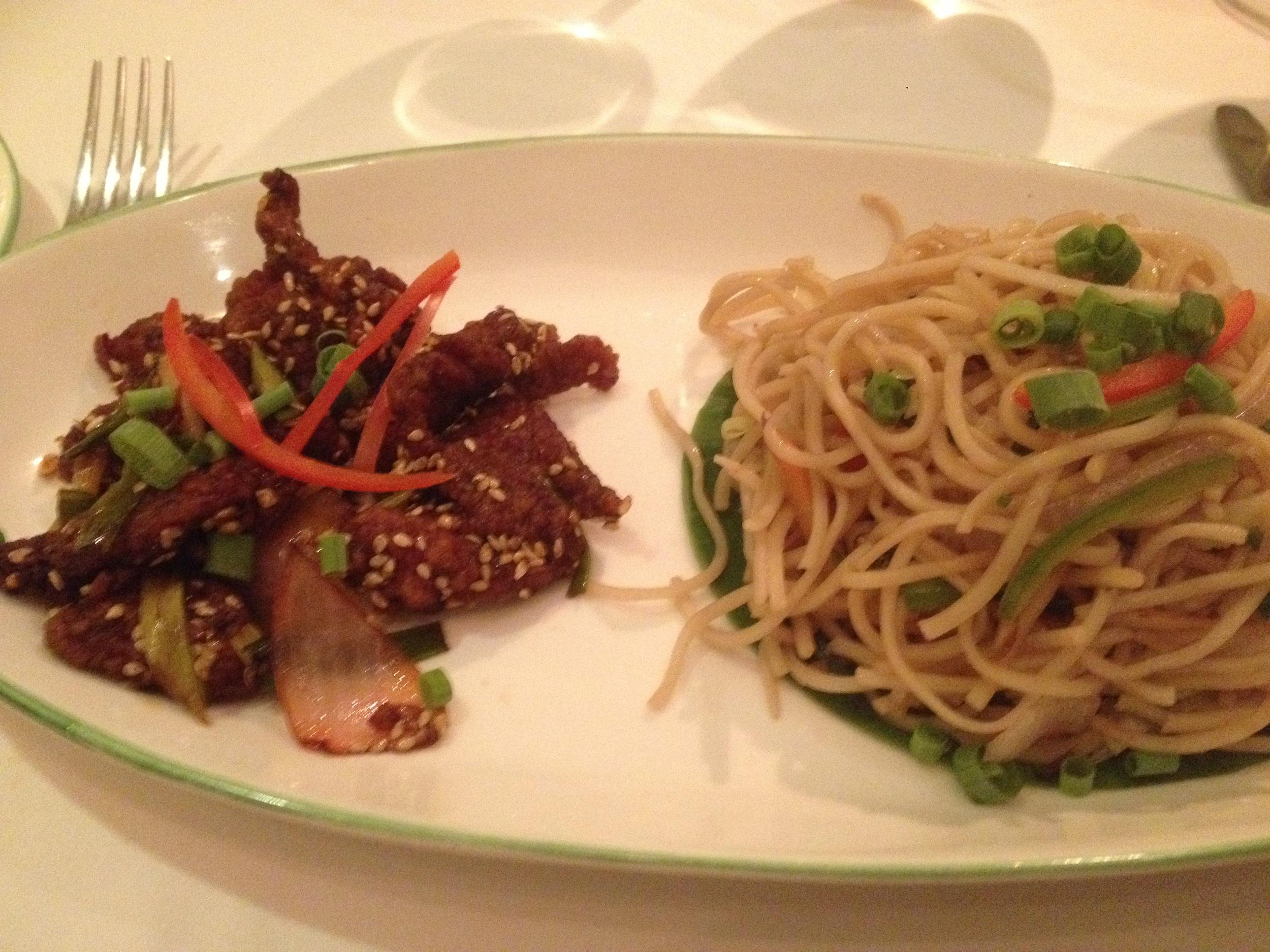 Crispy Lamb with Sesame Seeds and Hakka Noodles