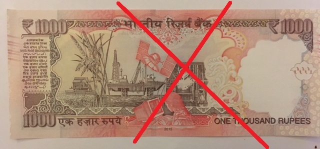 Back of a demonetised Rs 1000 note