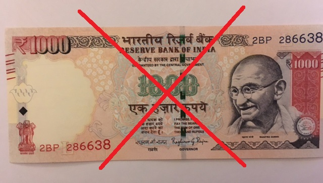 Front of a demonetised Rs 1000 note