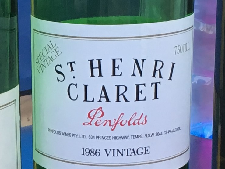 #4: Penfolds St Henri 1986 - Colour: Red wine with faded brick tints. Much darker than the grange, indicating it is at least 25-30 years old if not olderNose: Jammy dark berries such as black berry, plum and Morello cherries, some tobacco, toasted nuts, some licorice and perhaps some herbs (mint ?)Palate: Clean attack with a complex evolution with plenty of fruit, candied walnuts and hazelnuts, plums, licorice and more on the palate. Extremely smooth and supple tannin make it a very easy drinking wine.Finish: Long (8 minutes), velvety with a touch of mulberryFood pairing: Lamb cooked rare in black pepper sauce