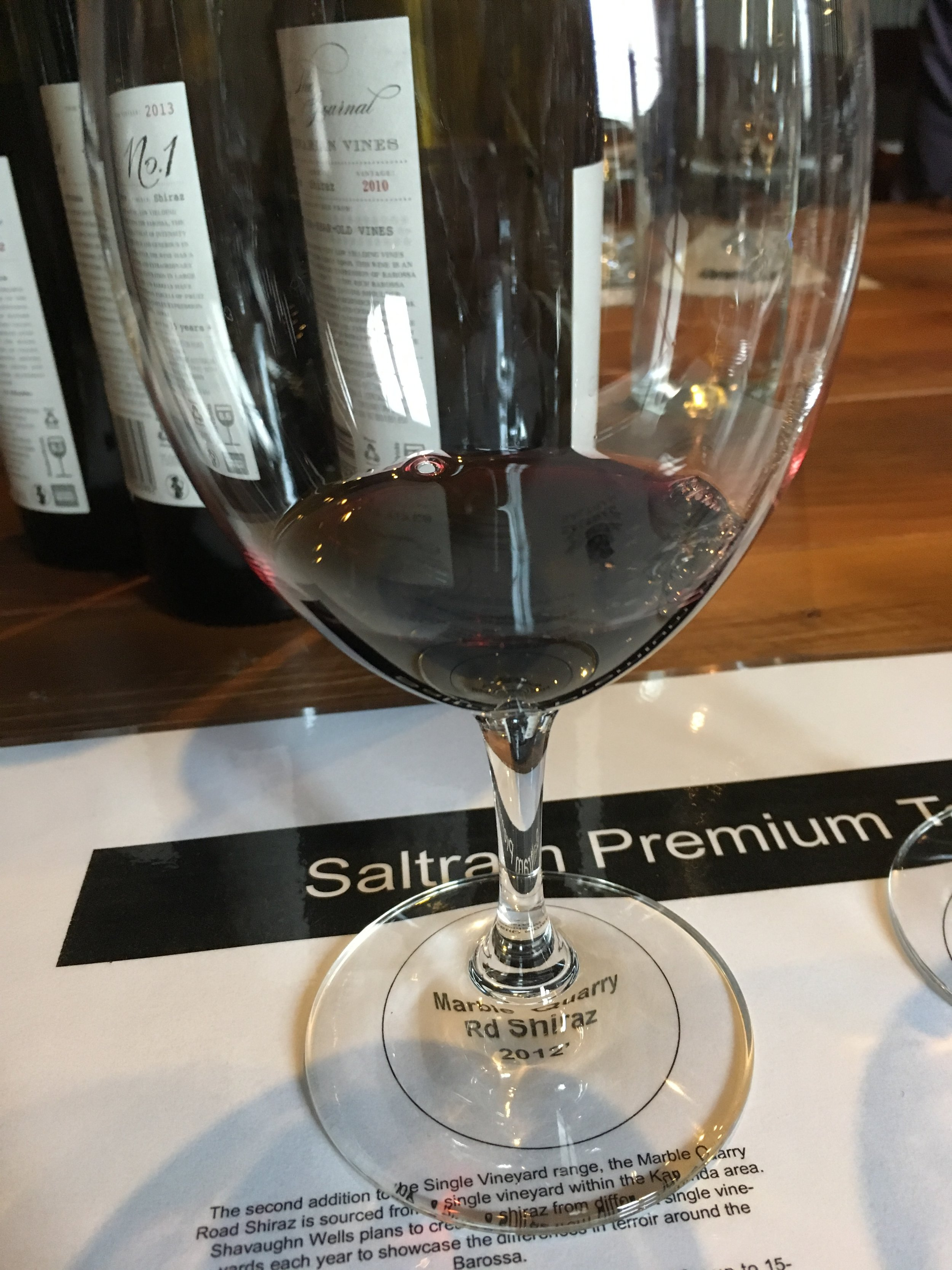 # 7: Saltram Marble Quarry Rd 2012 Shiraz - Colour: Red wine, that is bright, opaque and with purple tintsNose: Vanilla, possibly some rose, plenty of jammy dark fruitPalate: Attack is clean. Mid palate has pepper, vanilla and dark fruit, and just ripe plum, and currants. Finish: About 5-7 minutes long but will improve with time.Food pairing: Game with a rich mushroom sauce