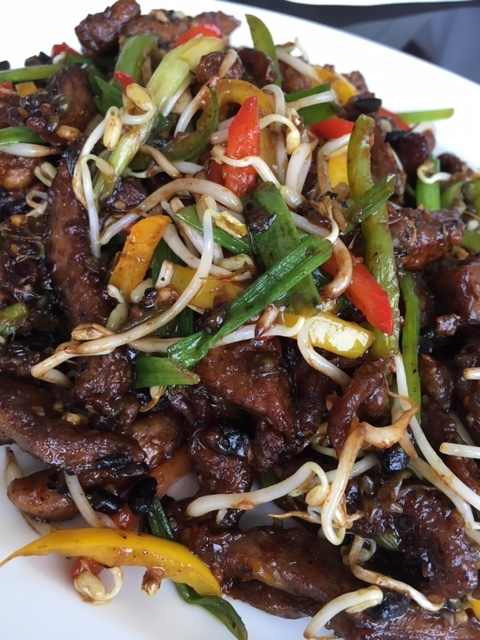 Stir Fried Shredded Duck, Vegetables and Black Bean Sauce
