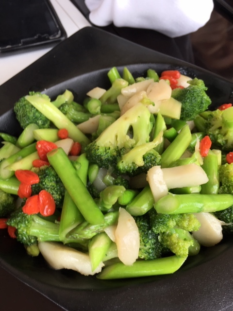Wok Fried Asparagus, Broccoli, and Wolf Berries
