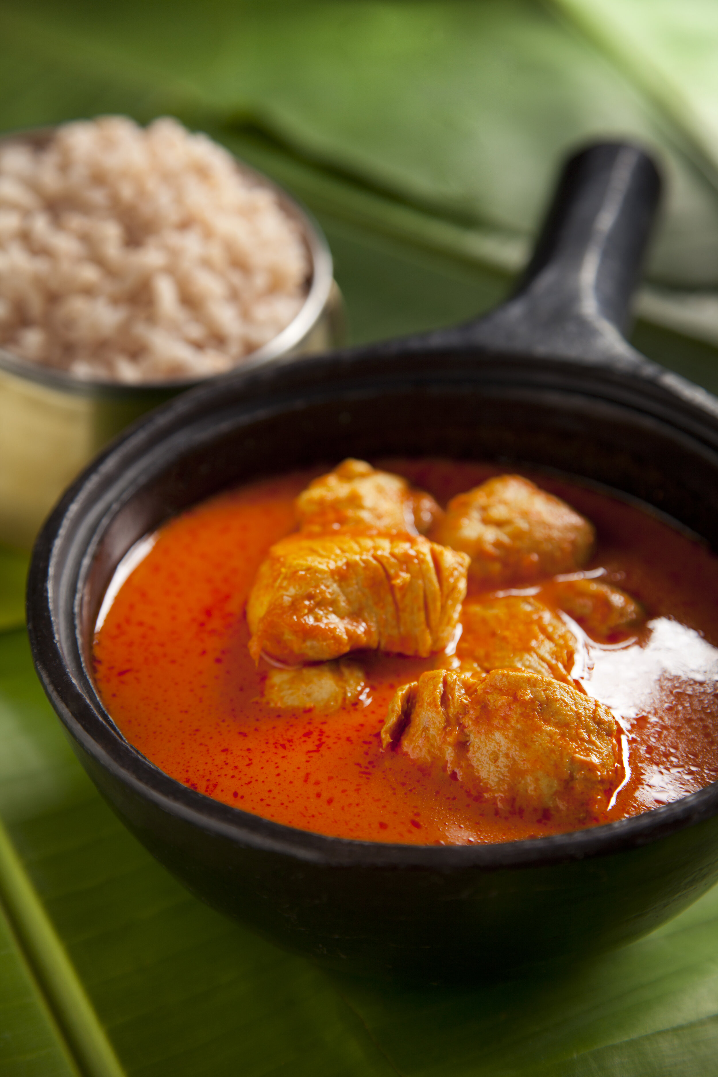 Allapuzha Meen Curry (Seer fish simmered in a moderately spiced gravy of fresh ground coconut, ginger and raw mango)