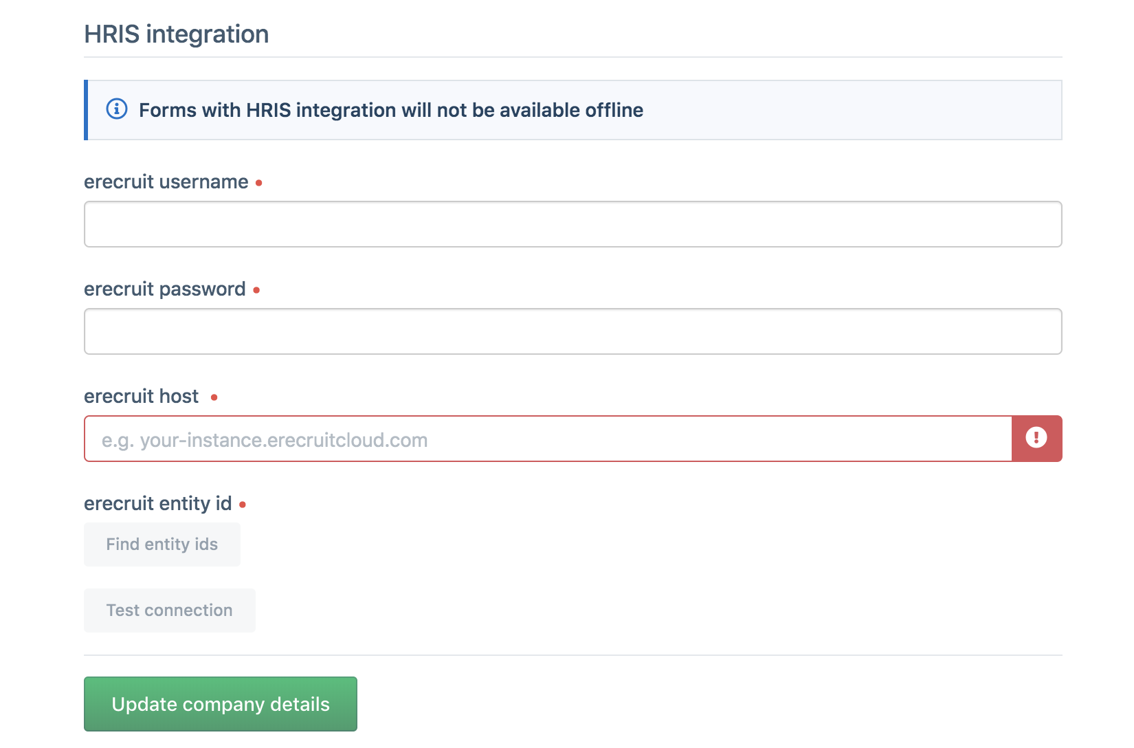 eRecruit Integration Setup
