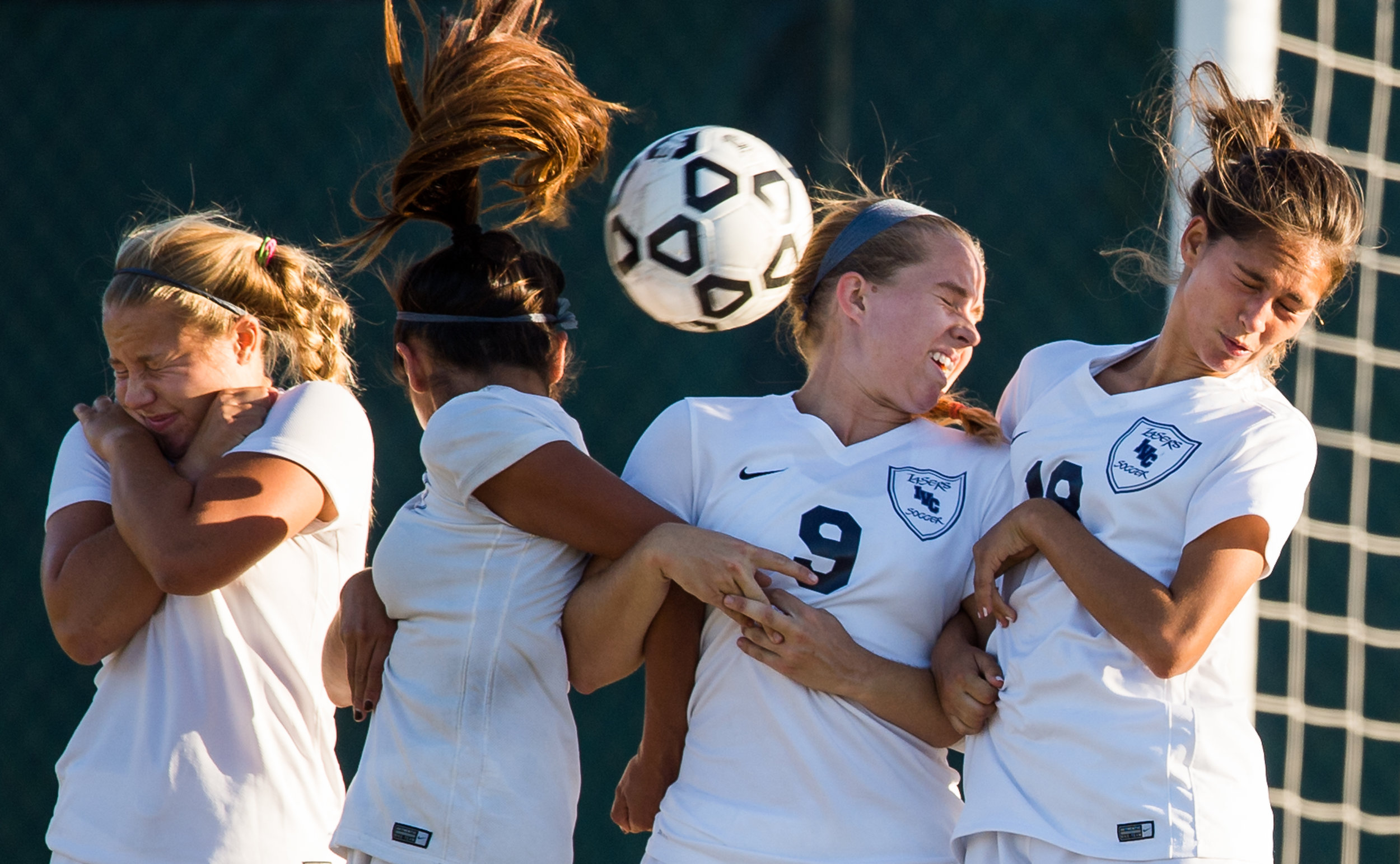 Irvine Valley's #17 Payton Purcell, #2 Johana Abarca, #9 Virginia Hickman and #18 Christina Anderson attempt to block a free kick at the Fullerton vs. Irvine Valley women's soccer game held at Fullerton College on Nov. 6, 2015 in Fullerton, California.