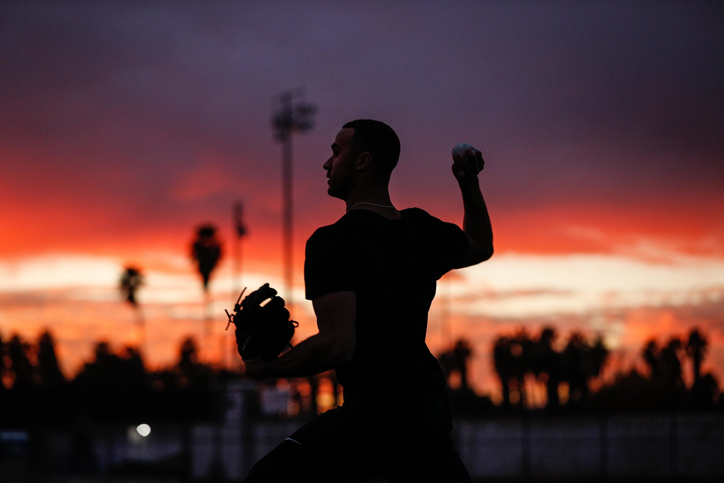 St. Louis Cardinals pitcher Jack Flaherty throws to former teammates at a practice in Los Angeles, Calif. on Dec. 10, 2018.