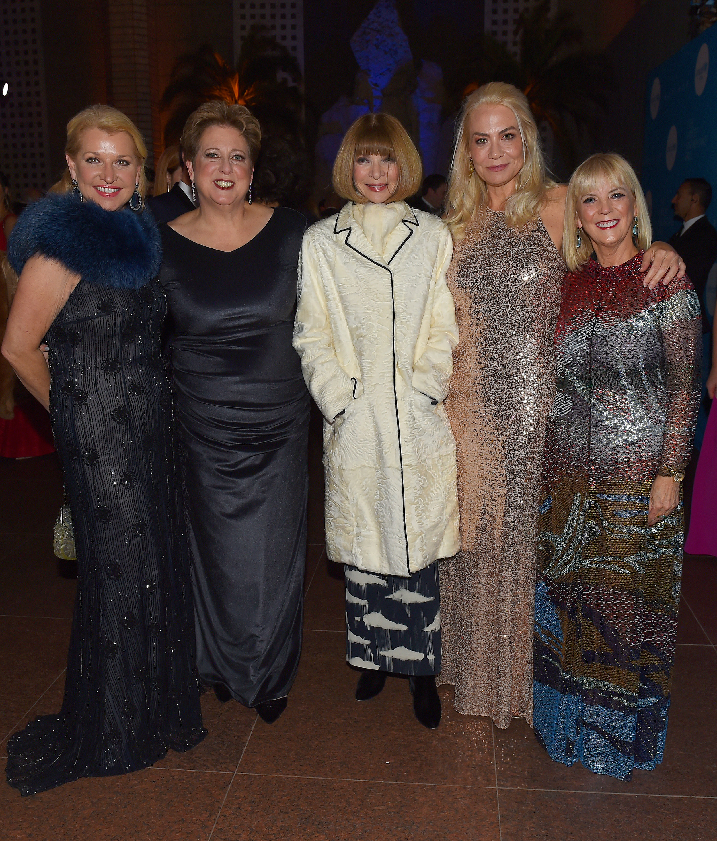 (L-R) Mindy Grossman, Caryl M. Stern, Anna Wintour, Elizabeth Smith, and Carol J. Hamilton attend 13th Annual UNICEF Snowflake Ball 2017 at 60 Wall Street Atrium on November 28, 2017 in New York City. (Photo by Nicholas Hunt/Getty Images for UNICEF)