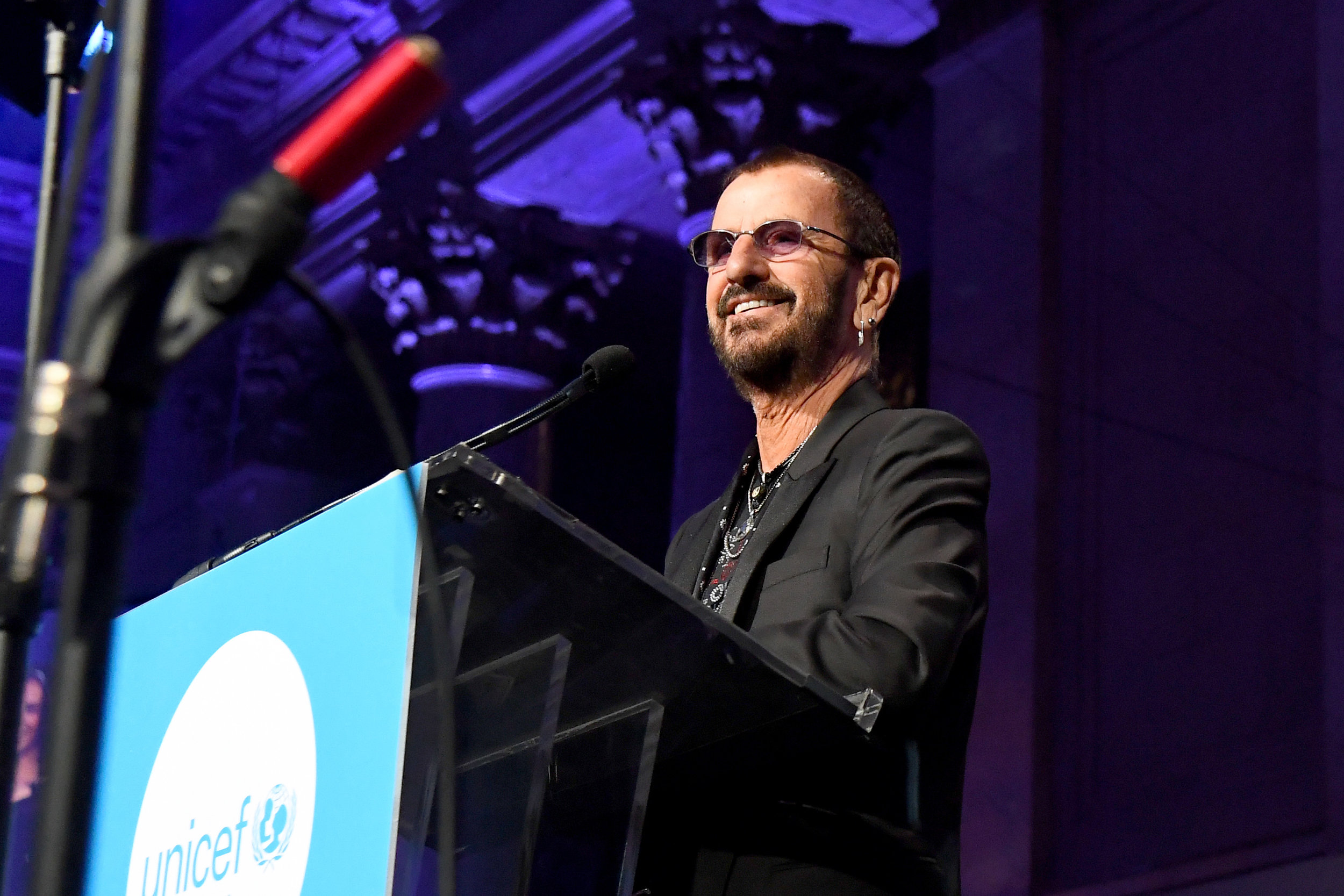 NEW YORK, NY - NOVEMBER 27: Honoree Sir Ringo Starr speaks onstage during the 14th Annual UNICEF Snowflake Ball 2018 on November 27, 2018 in New York City. (Photo by Nicholas Hunt/Getty Images for UNICEF)