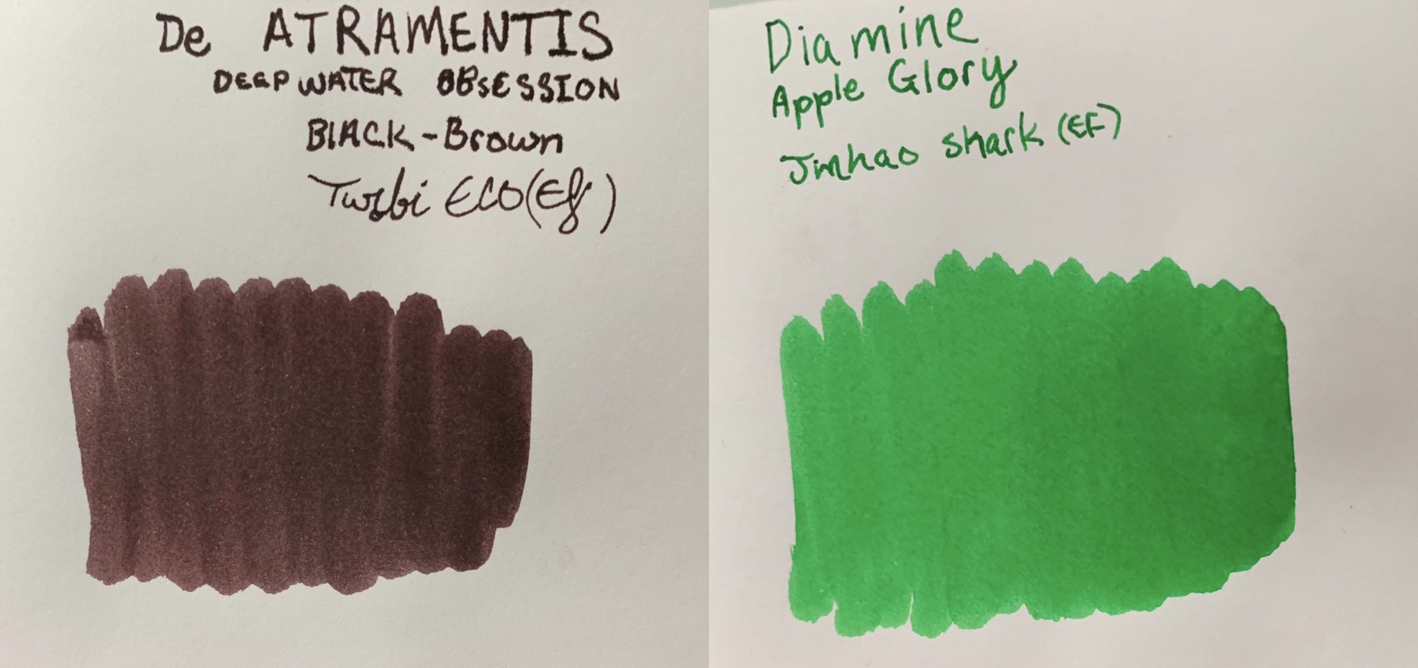 Inks: - De Atraments deepwater obsession (Black-brown) (originally bought on Goulet Pens as well, but they do not sell this ink anymore due to low demand. Jetpens sells it though)Random sampler of Diamine Apple Glory