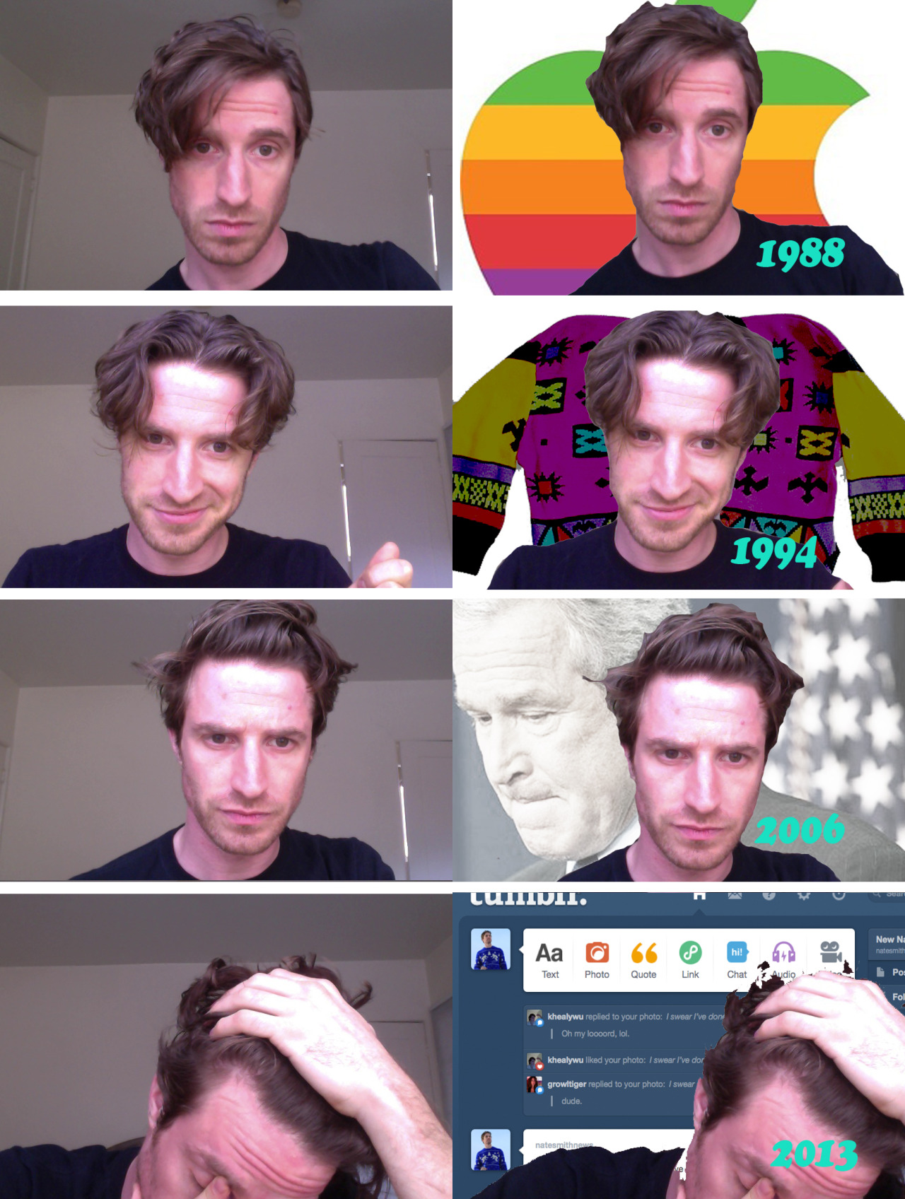 The hairstyles of my lifetime. All taken in one day. Complete with forehead pimple.