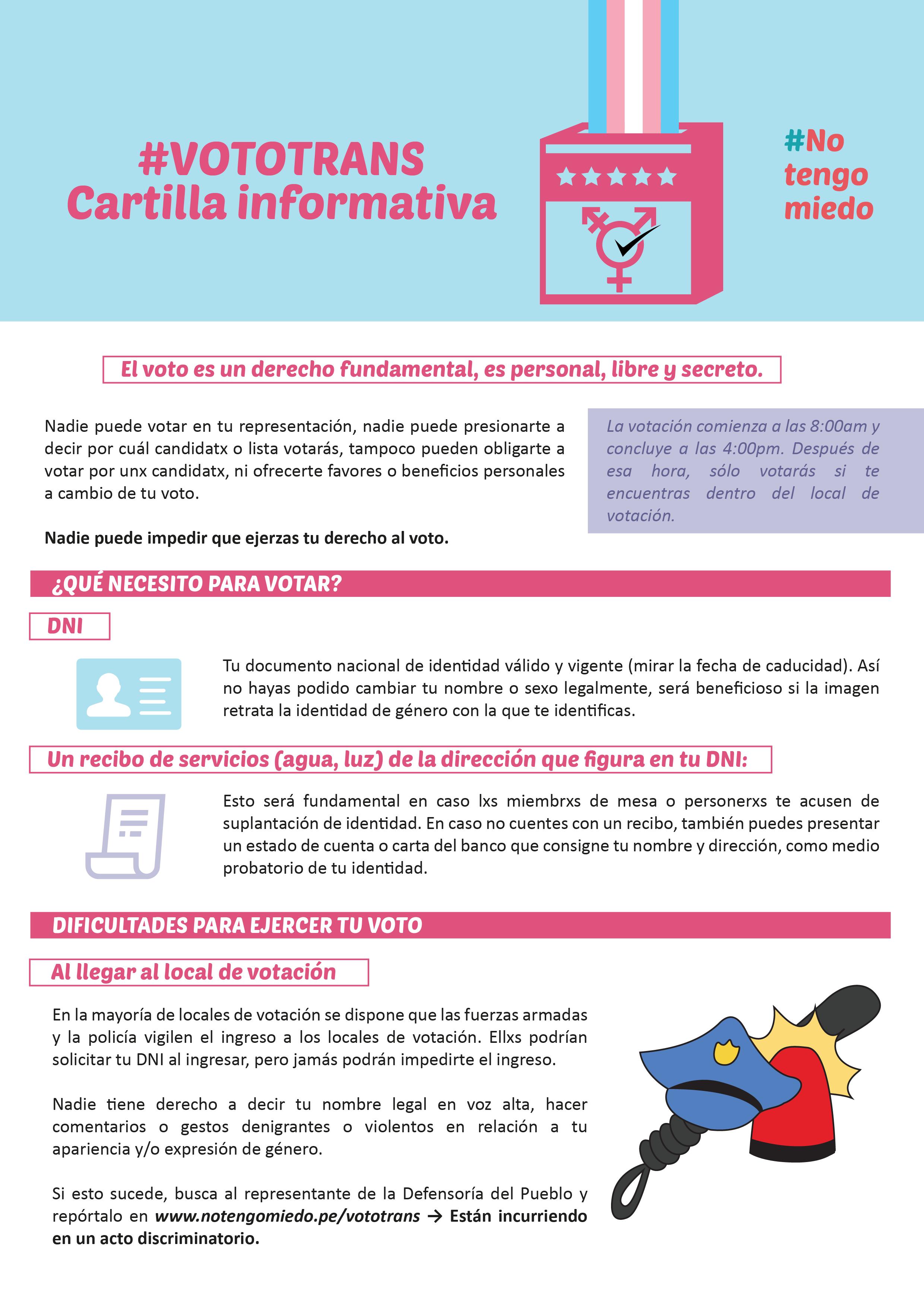 VOTO TRANS: CARTILLA INFORMATIVA, 2016    Cartilla informativa para facilitar el voto de personas transgénero durante las elecciones generales 2016.