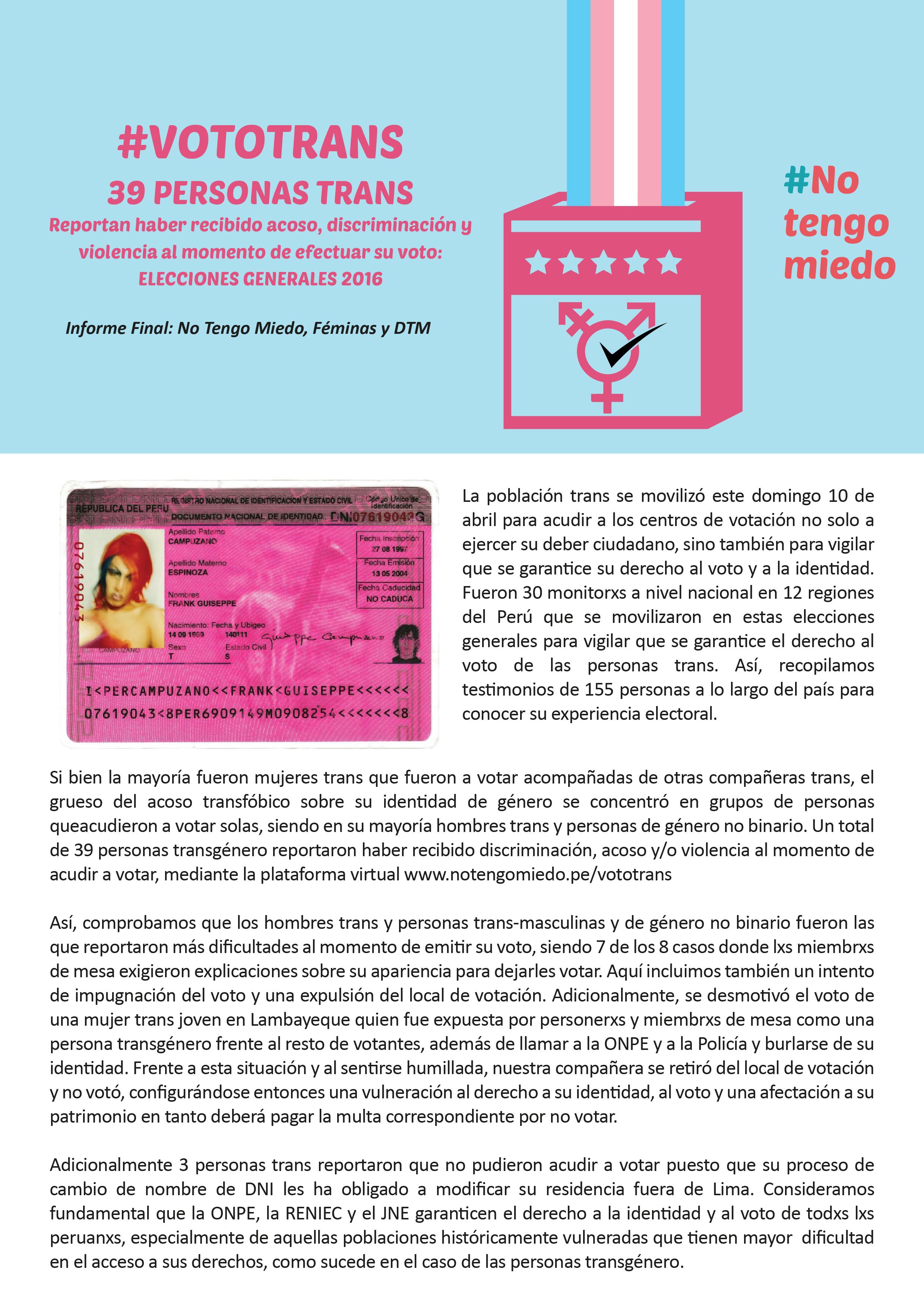 #VOTOTRANS: RESULTADOS DEL OBSERVATORIO, 2016    Resultados del primer observatorio sobre voto trans llevado a cabo el 10 de abril del 2016