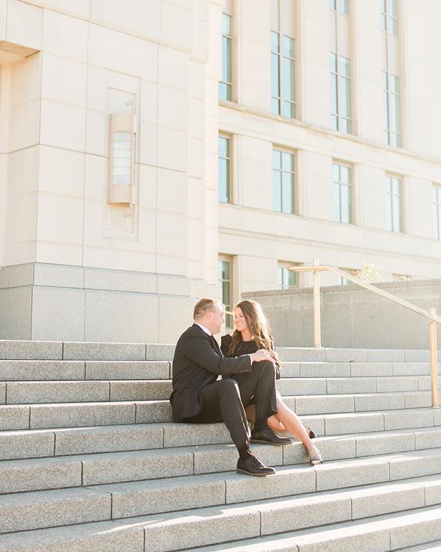 A couple of lawyers in love on the steps of the judicial building. 😍 I can totally see them sharing a lunch here next year as husband and wife, can't you?! . . . . . #desmoines #desmoinesengagement #engaged #shesaidyes #iowa #judicialbuildingdesmoines #engagedlawyers #midwestengagement #greenweddingshoes #livefolk #thatsdarling #shesdarling #darlingweekend #portrait #lookslikefilm #adventure #adventureawaits #classy #classyengagement #blacktieaffair #iowaengagement #dsmsociety #portraitmode