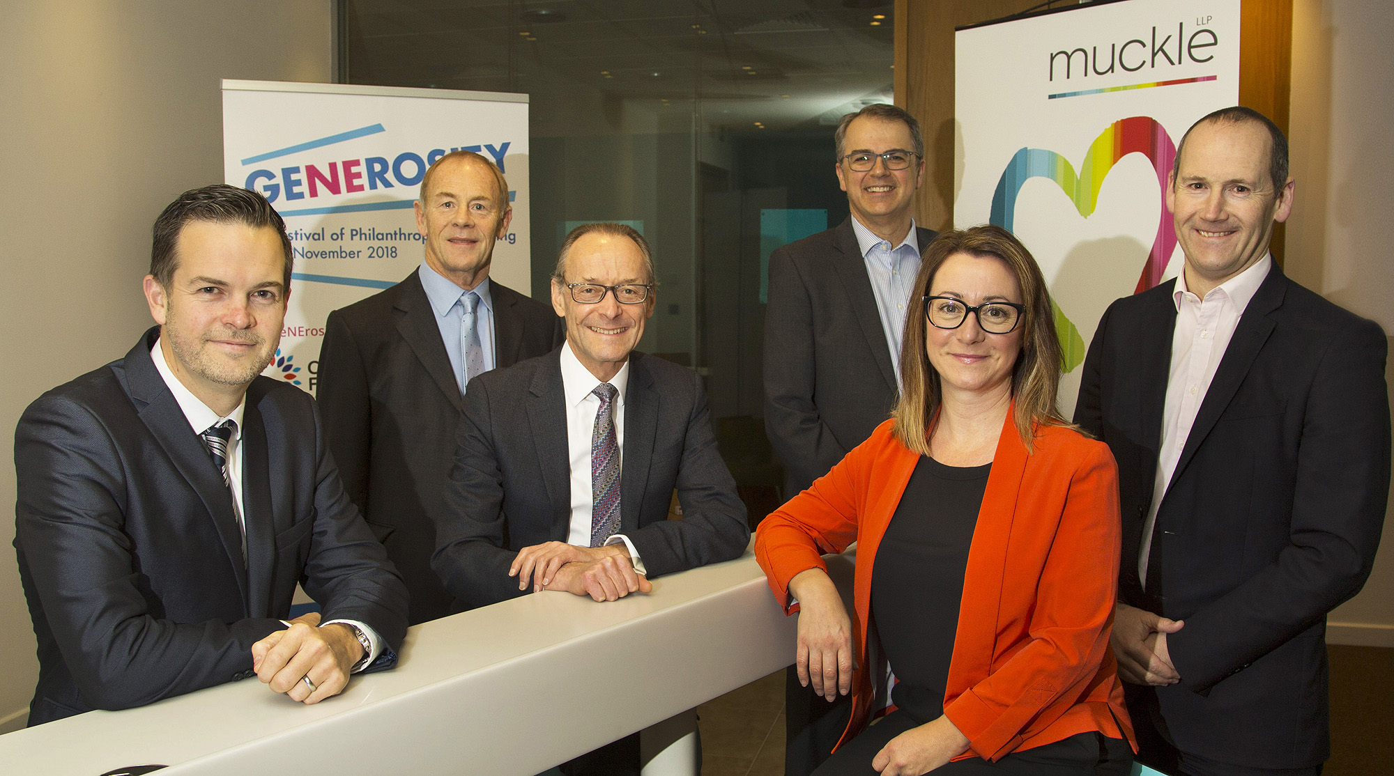 L-R: Matt Wilson, MD, Goodlabs; Nigel Smith, Chairman, Ringtons; Hugh Welch, Senior Partner, Muckle LLP; Andrew Haigh, CEO, Newcastle Building Society; Lisa Cappleman, Principal Advisor for Giving & Philanthropy, Community Foundation; Richard Hutton, Financial Director, Greggs.