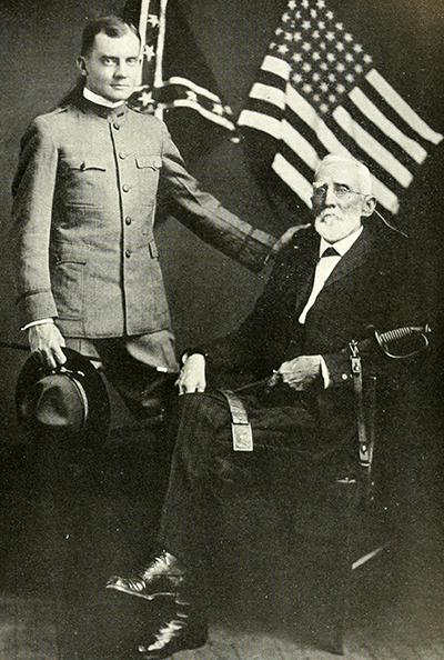 Major George Washington Findlay Harper (sitting) with his son Lieut. James Harper, 1919.