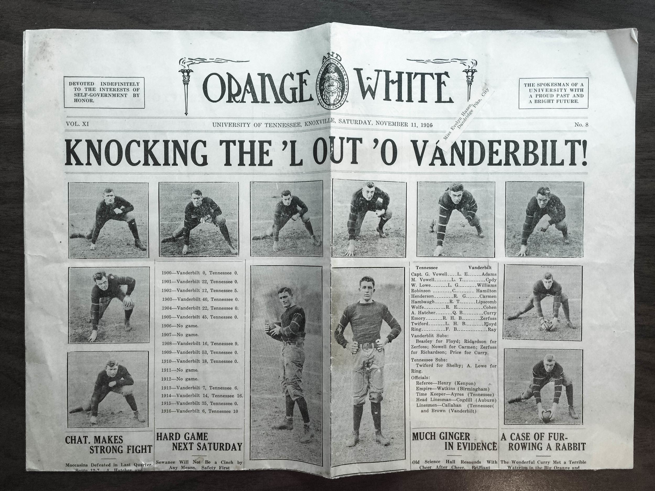 An example of UTK football coverage of the time;Evelyn Hazen's copy of  Orange & White , Nov. 11, 1916