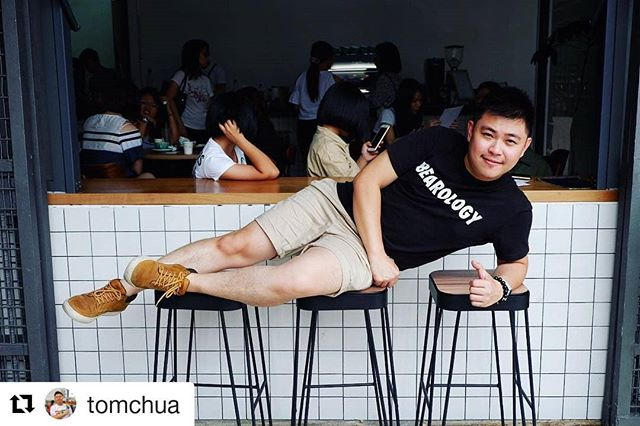 Lights, Camera, Action! Featuring our friend @tomchua laying on bar stools in Bearology Classic Tee - Black  Get it here: http://www.bearology.asia/product/bearology-classic-tee-black